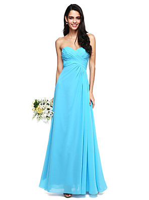2017 Lanting Bride® Floor-length Chiffon Bridesmaid Dress - Lace-up A-line Sweetheart with Criss Cross / Ruching