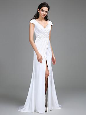 2017 Lanting bride® plášť / sloupec svatebních šatů sweep / kartáč vlak Výstřih satén šifonu s bočními závěsy