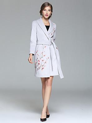 Dames Eenvoudig / Verfijnd Herfst / Winter Jas,Uitgaan / Casual/DagelijksLange mouw Grijs Effen / Geometrisch Medium Katoen / Polyester