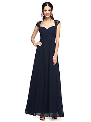 2017 Lanting bride® podlahy Délka šifónové / krajka elegantní družička šaty - a-linie srdíčko s criss křížem