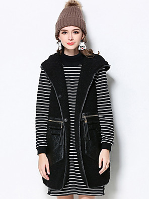 MEIDONGTAI  Women's Plus Size / Casual/Daily Vintage JacketsSolid Hooded Sleeveless Winter Black Polyester Medium