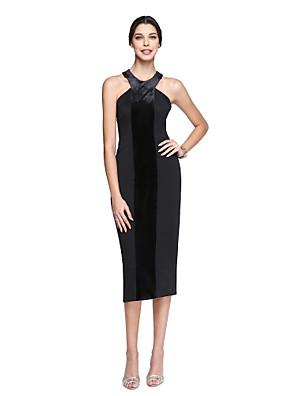 TS Couture® מסיבת קוקטייל שמלה מעטפת \ עמוד קולר באורך הקרסול סאטן מאט / שיפון קטיפה עם