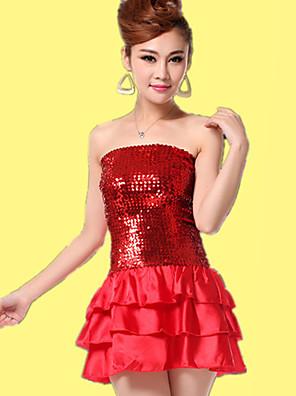 ריקוד לטיני שמלות בגדי ריקוד נשים אימון נצנצים נצנצים חלק 1 בלי שרוולים טבעי שמלות Dress One Size:62cm