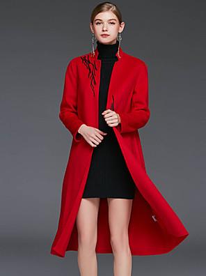 Damen Stickerei Einfach Lässig/Alltäglich Mantel,Winter Ständer Langarm Rot / Braun / Grün Wolle