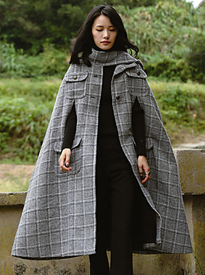 Casual/hétköznapi Egyszerű Téli-Női Kabát,Tyúklábminta Állógallér Hosszú ujj Szürke Pamut Vastag