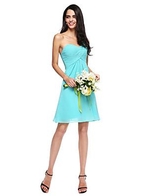 Lanting Bride® Krátký / Mini Šifón Mini já Šaty pro družičky - A-Linie Jedno rameno s Křížení / Sklady