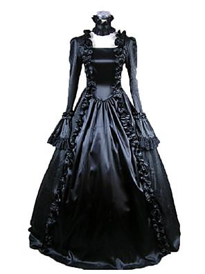 Jednodílné/Šaty Gothic Lolita Viktoria Tarzı Cosplay Lolita šaty Černá Jednobarevné Dlouhé rukávy Long Length Šaty Pro Dámské Satén