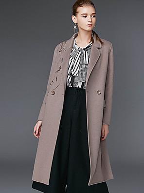 Damen Solide Einfach Lässig/Alltäglich Mantel,Winter Gekerbtes Revers Langarm Grau Wolle / Polyester
