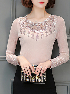 Women's Formal Winter ShirtSolid Stand Long Sleeve Cotton Polyester Thick Plus Size Top