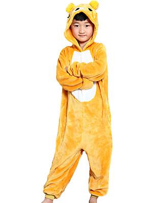 Kigurumi פיג'מות Bear /סרבל תינוקותבגד גוף פסטיבל/חג הלבשת בעלי חיים Halloween צהוב טלאים פלנל Kigurumi ל ילד האלווין (ליל כל הקדושים)