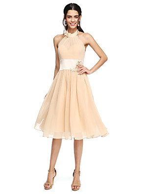 Lanting Bride® באורך  הברך שיפון גב יפהפייה שמלה לשושבינה - גזרת A צווארון גבוה עם פרח(ים) / סרט / קפלים