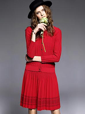 Dames Vintage Winter Set Rok Suits,Casual/Dagelijks Effen Ronde hals Lange mouw Rood Kasjmier / Wol Medium