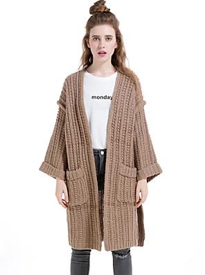 Dames Casual/Dagelijks / Vakantie Eenvoudig Lang Vest Effen-Bruin V-hals Lange mouw Wol / Katoen / Polyester Winter Dik Micro-elastisch