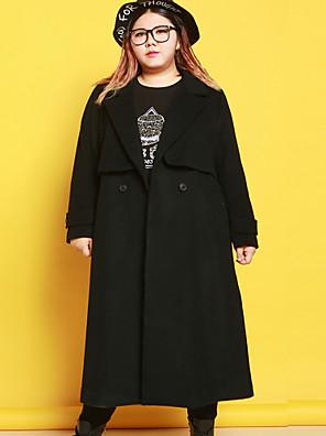 Casual/hétköznapi Egyszerű Téli-Női Kabát,Egyszínű Hasított rever Hosszú ujj Fekete Gyapjú / Poliészter