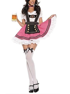 תחפושות קוספליי / תחפושת למסיבה פסטיבל אוקטובר פסטיבל/חג תחפושות ליל כל הקדושים ורוד טלאים שמלה / עניבההאלווין (ליל כל הקדושים) / קרנבל /