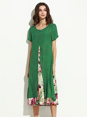 כותנה / פשתן מידי צווארון עגול פרחוני שמלה משוחרר וינטאג' נשים