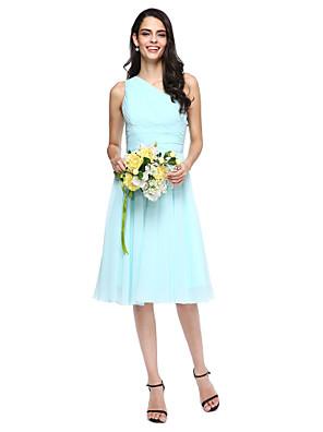 Lanting Bride® Ke kolenům Šifón Šaty pro družičky - A-Linie Jedno rameno s Boční řasení