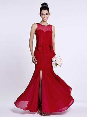 Lanting Bride® Na zem Šifón Šaty pro družičky Mořská panna Klenot s Knoflíky / Rozparek vpředu