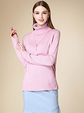 Dame Simpel Casual/hverdag Normal Pullover Ensfarvet,Rosa Rullekrave Langærmet Polyester Vinter Medium Mikroelastisk