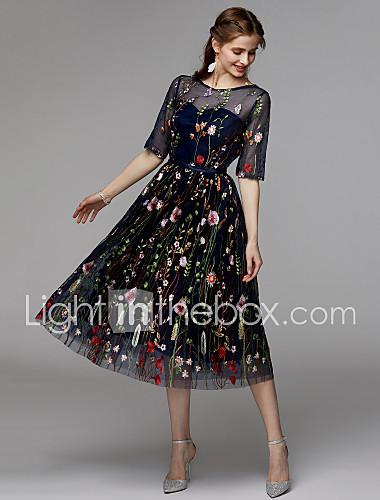 412f21edcc35 Γραμμή Α Illusion Seckline Κάτω από το γόνατο Οργάντζα   Σατέν σιφόν Μικρό  Μαύρο Φόρεμα Κοκτέιλ