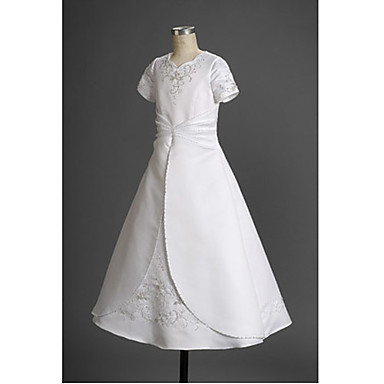 A-line Princess Floor-length Flower Girl Dress - Satin Square with Appliques Beading Ruffles Side Draping