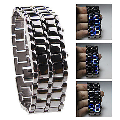 Buy Unisex Blue LED Lava Style Black Steel Band Wrist Watch Cool Unique