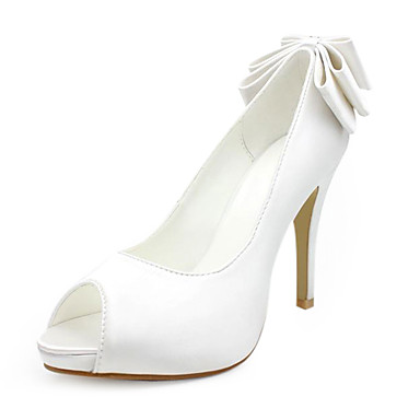 Buy Satin Upper Stiletto Heel Pumps/ Peep Toe Bowknot Wedding Shoes Colors Available