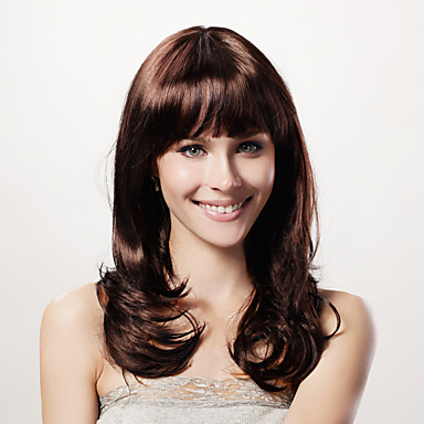 Buy Capless Long Curly Brown Synthetic Wig Full Bang