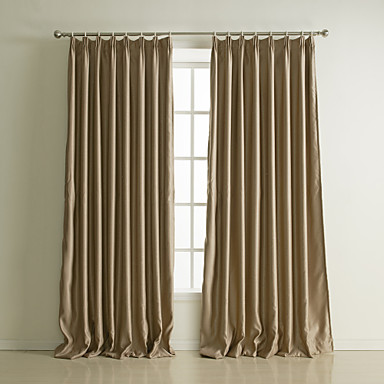 #(One Panel) Double Pleated Solid Embossed Blackout Curtain