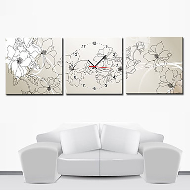 """12""""-24"""" Modern Style Floral Wall Clock in Canvas 3pcs"""