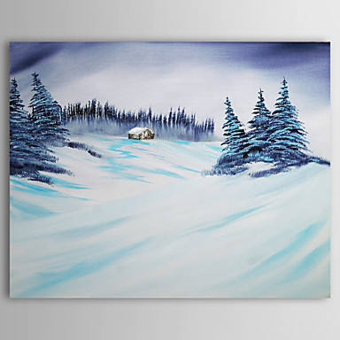 Christmas Painting Snowing Winter Holiday Gift Oil Painting on Canvas Ready t...