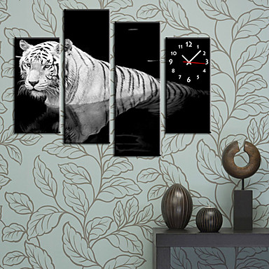 Modern style tiger wall clock in canvas set of 4 481681 - Reloj de pared moderno ...