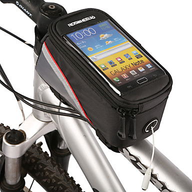 ROSWHEEL Bike BagBike Frame Bag Cell Phone Bag Waterproof Zipper Water Bottle Pocket Dust Proof Touch Screen Phone/Iphone Bicycle BagPU
