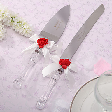 Serving Sets Wedding Cake Knife Personalized Red Rose Amp White Satin Cake Serving Set 272680 2017