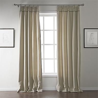 modernes deux panneaux solide beige salon rideaux à ...