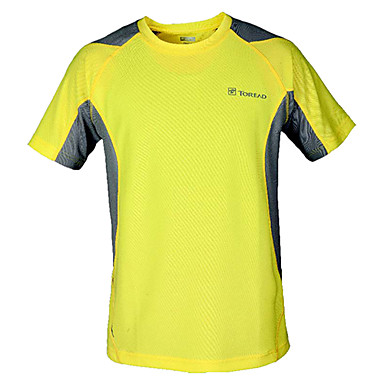 Men's Short Sleeve Running T-shirt Tops Breathable Quick Dry Summer Sports Wear Leisure Sports 100% Polyester Yellow