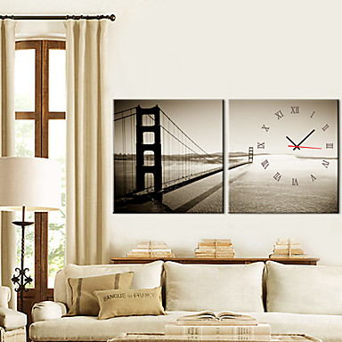"12""-24"" Golden Gate Bridge Wall Clock In Canvas 2pcs"