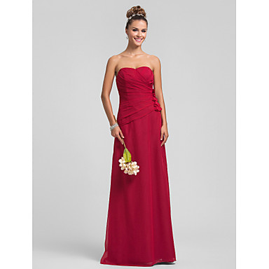Lanting Bride® Floor-length Chiffon Bridesmaid Dress - Sheath / Column Sweetheart Plus Size / Petite with Flower(s) / Criss Cross