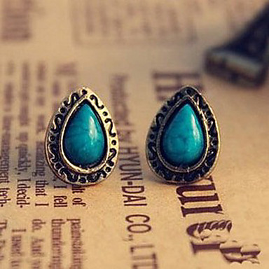 Stud Earrings Gemstone Alloy Carved Flower Drop Blue Jewelry Daily