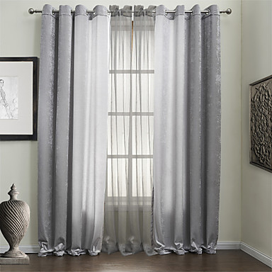 Two Panels Curtain Modern Solid Polyester Material