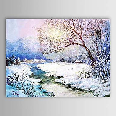Christmas Painting Snowing Day Holiday Gift Oil Painting on Canvas Ready to Hang