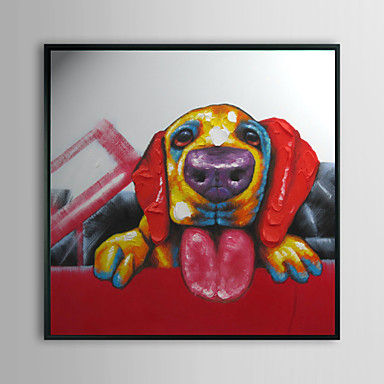 Dog in Red Car Animal Framed Oil Painting