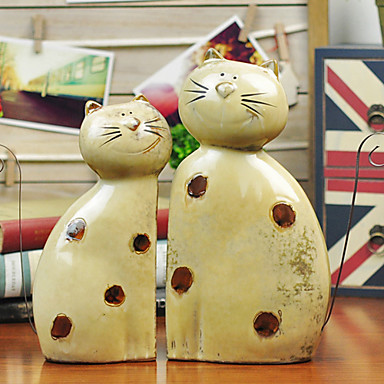 """12""""Country Style Cat Type Ceramic Collectibles Set(2 PCS)"""