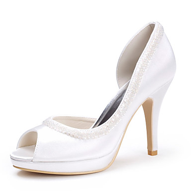 Buy Spring / Summer Fall Heels Peep Toe Platform Satin Stretch Wedding Stiletto Heel Sequin Ivory White Silver Gold
