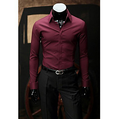 Men's Solid Pink/Khaki/Black Shirt,Work Slimming Shirt Collar Long Sleeve