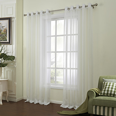 Buy Two Panels Curtain Modern , Solid Bedroom Linen/Polyester Blend Material Sheer Curtains Shades Home Decoration Window