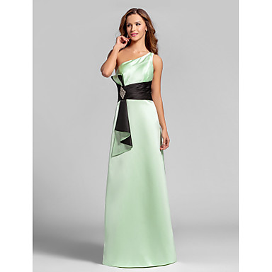Lanting Bride® Floor-length Satin Lace-up Bridesmaid Dress - A-line One Shoulder Plus Size / Petite with Ruching / Crystal Brooch