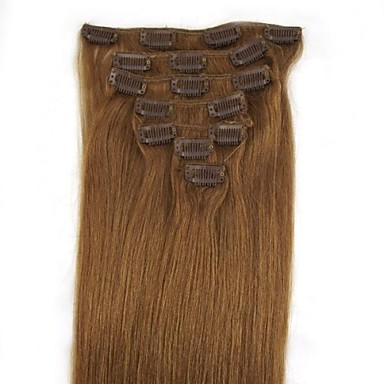 18 Inch 7Pcs 70g Clip in Human Human Hair Extensiiion Straight Multiple Colors Available Q1870