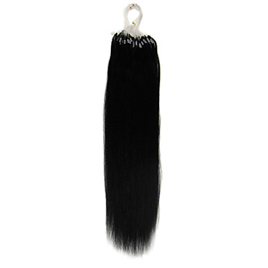 16Inch 1Pcs Loops Micro Rings Beads Tipped Straight Hair Extensions More Dark Colors 100s/pake 0.4g/s