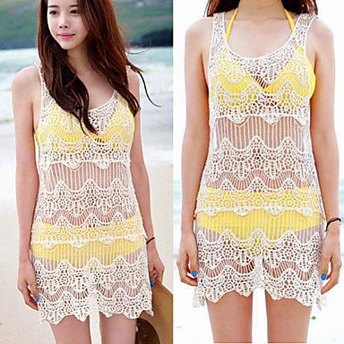 Popular Beach Dresses Women Sexy Boho Floral Crochet Evening Party Lace Dress